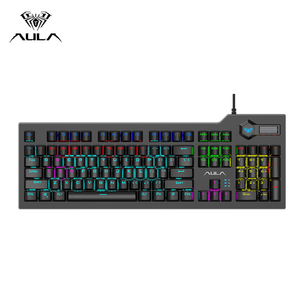 AULA F2063 Mechanical Gaming Keyboard USB Wired RGB Backlight Floating Keycap One-key dual mode switching Keyboard Professional Gaming Office Keyboard - Black Singapore