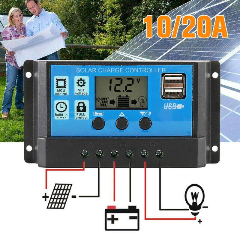 【Hot Sale】LCD Solar Panel Battery Regulator Charge Controller Dual USB 12v 24v 10A 20A