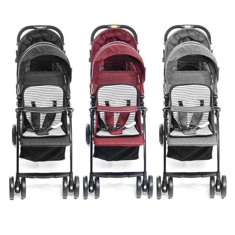 【New Arrival】(GREY/RED/BLACK-2 in 1) Comfortable Double Seat Twin Baby Child Front And Back Tandem Compact Stroller-With large storage basket, sun canopy and foldable back seat Singapore