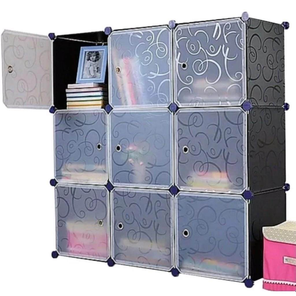 Diy Magic 9 Cube Large Capacity Creative Storage Cabinet- Black By Fly Automart.