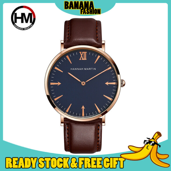 [Authentic] HANNAH MARTIN Classic Leather With Warranty Card Luxury Men Women Watch Jam Tangan Lelaki Wanita Perempuan Malaysia