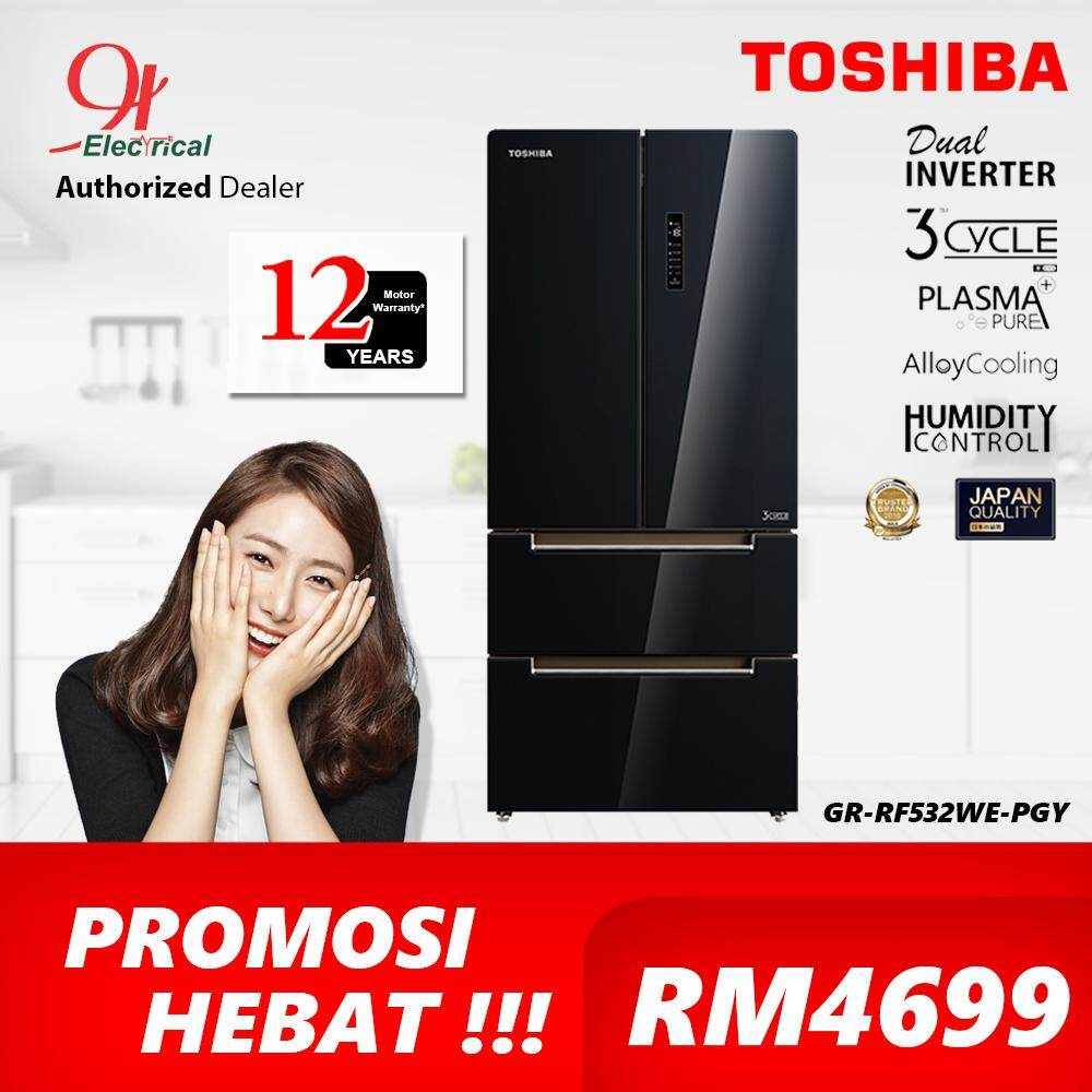 TOSHIBA 582L Glass Multi Door Dual Inverter Refrigerator GR-RF532WE-PGY