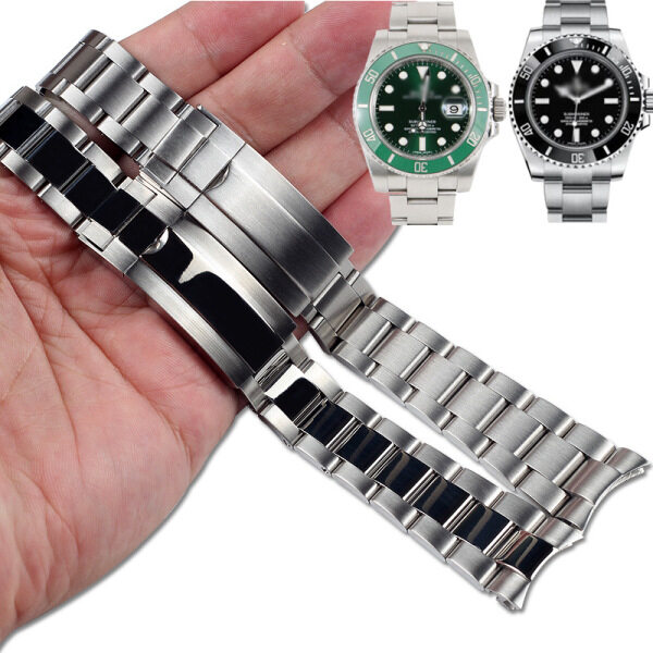 LANGLEY 20mm 21mm Brushed Polish Silver Stainless steel Watch Band For Rolex Daytona Submarine Role strap Submariner Wristband Bracelet Malaysia