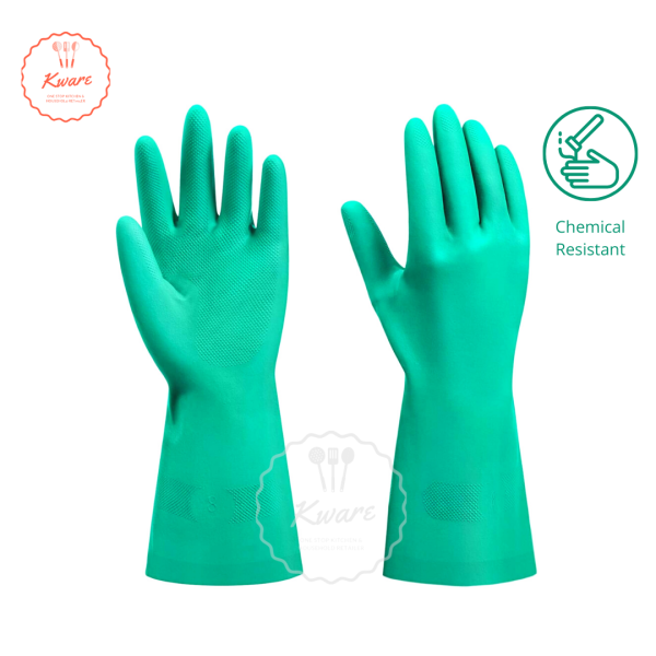 Nitrile Heavy Duty Chemical Resistant Gloves Resistant Against Acid Solvents Oil Animal Fats Latex Free Home Cleaning Gloves Kitchen Gloves