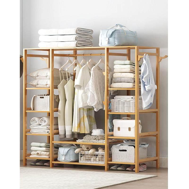 165x122x35cm, Multifunction Bamboo Combination, Bedroom Simple Wardrobe, Hangers,Storage Shelf