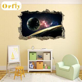 Orfly 3D Universe Galaxy Tường Sticker Phòng Khách Sàn Dán Trần Ký Túc Xá PVC Trang Trí Nội Thất Tường Decals Wallpaper Sticker Cho Phòng Ngủ thumbnail