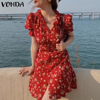 (Hoa Hàn Quốc) VONDA Đầm Nữ Mùa Hè Đầm Ngắn Hoa Ngắn Tay Cho Bé Gái Đầm Suông Suông Rộng Mặc Thường Ngày thumbnail