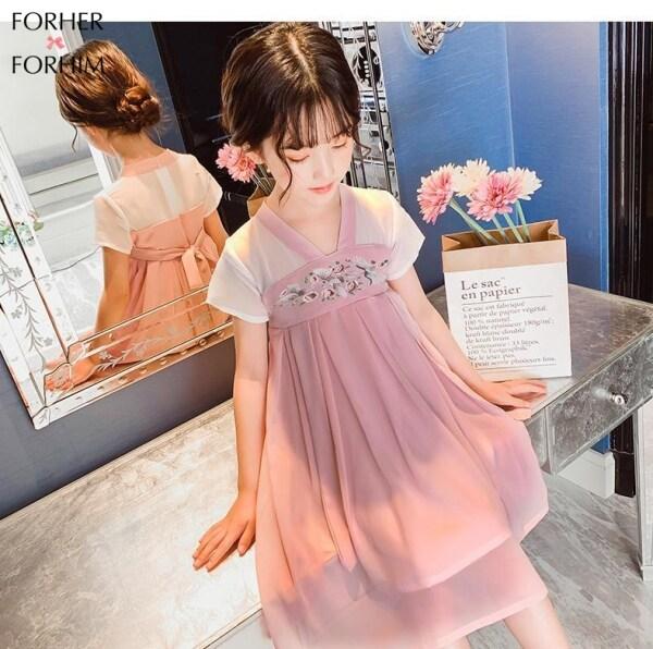 Giá bán Váy Bé Gái FORHER FORHIM, Màu Hồng, Đỏ Xanh, 5-11 Tuổi 2020, Váy Trẻ Em Mới Thời Trang Hè Dài Vừa Siêu Cổ Tích Phong Cách Trung Quốc Hanfu KE200120