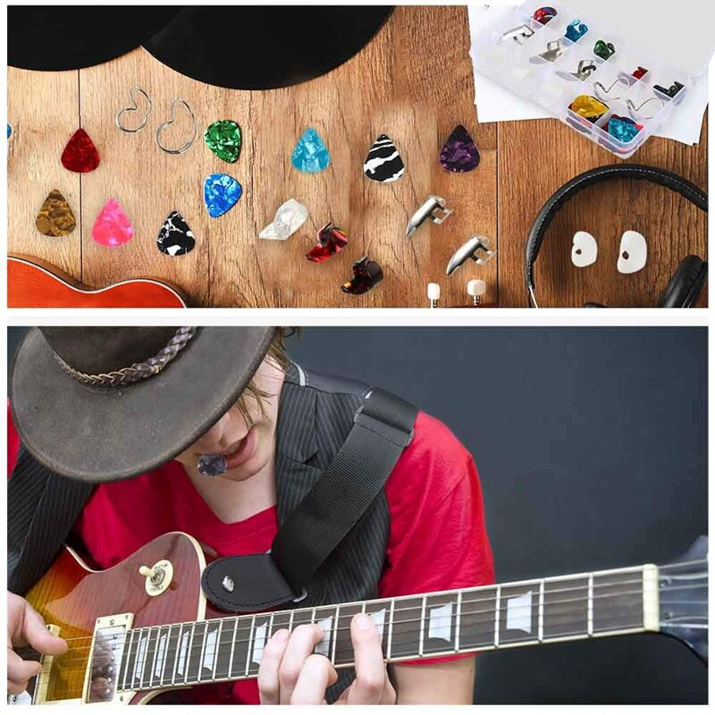 Guitar Accessories Kit Include 36 Pcs Guitar Picks 19 Pcs Thumb and Finger Picks Set 5 Pcs Clear Finger Protectors with Grid Case Storage Box