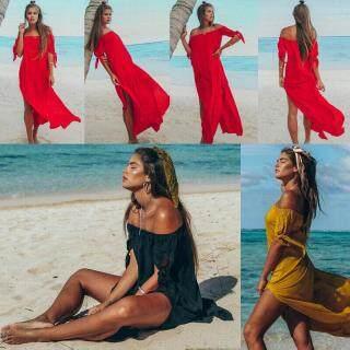 Đầm Nữ Boho Giản Dị Polyester Tay Áo Ngắn Dạ Tiệc Bãi Biển Dài Maxi thumbnail
