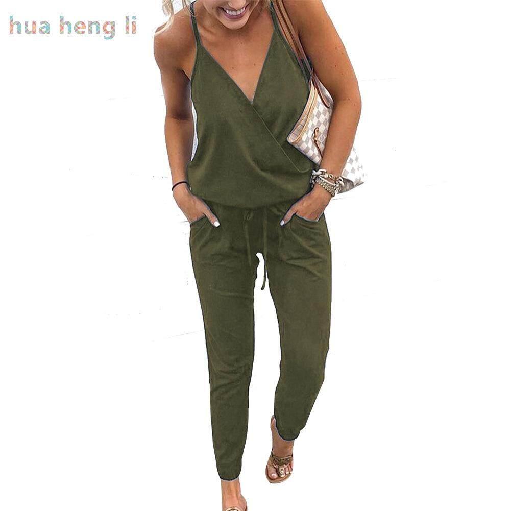 Hua Heng Li ผู้หญิง Strappy Backelsss จัมป์สูทกางเกงขายาวฤดูร้อน Beach PARTY Playsuit