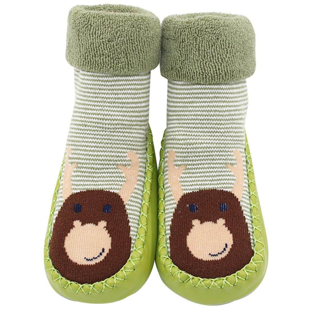 Newborn Baby Winter Warm Anti-slip Wool Socks Slipper Shoes Boot 0-12 Months New