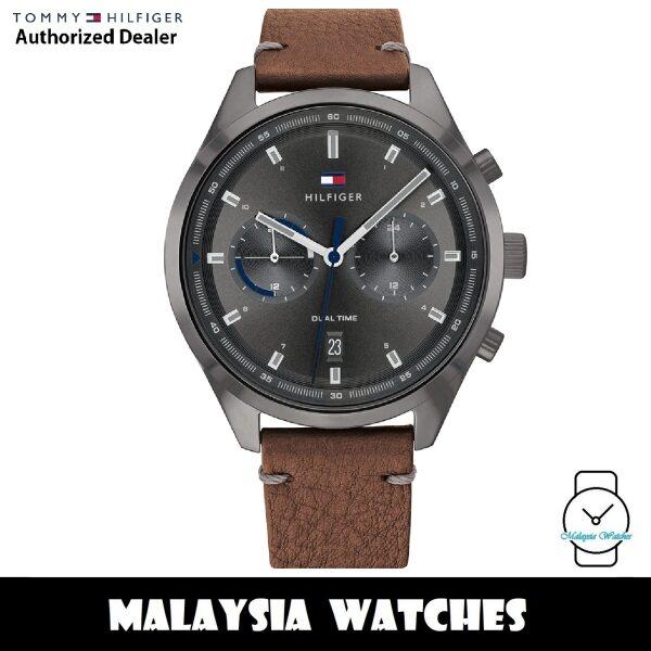 (100% Original) Tommy Hilfiger 1791730 Quartz Analog Dual Time Grey Dial Brown Leather Strap Mens Watch (2 Years International Warranty) Malaysia