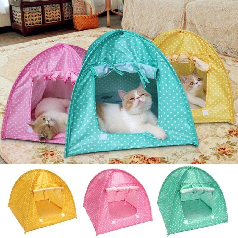Lều Cho Mèo Di Động, 3 Màu, Chống Nước, Có Thể Gấp Lại, Dùng Để Chơi Đùa, Trên Giường