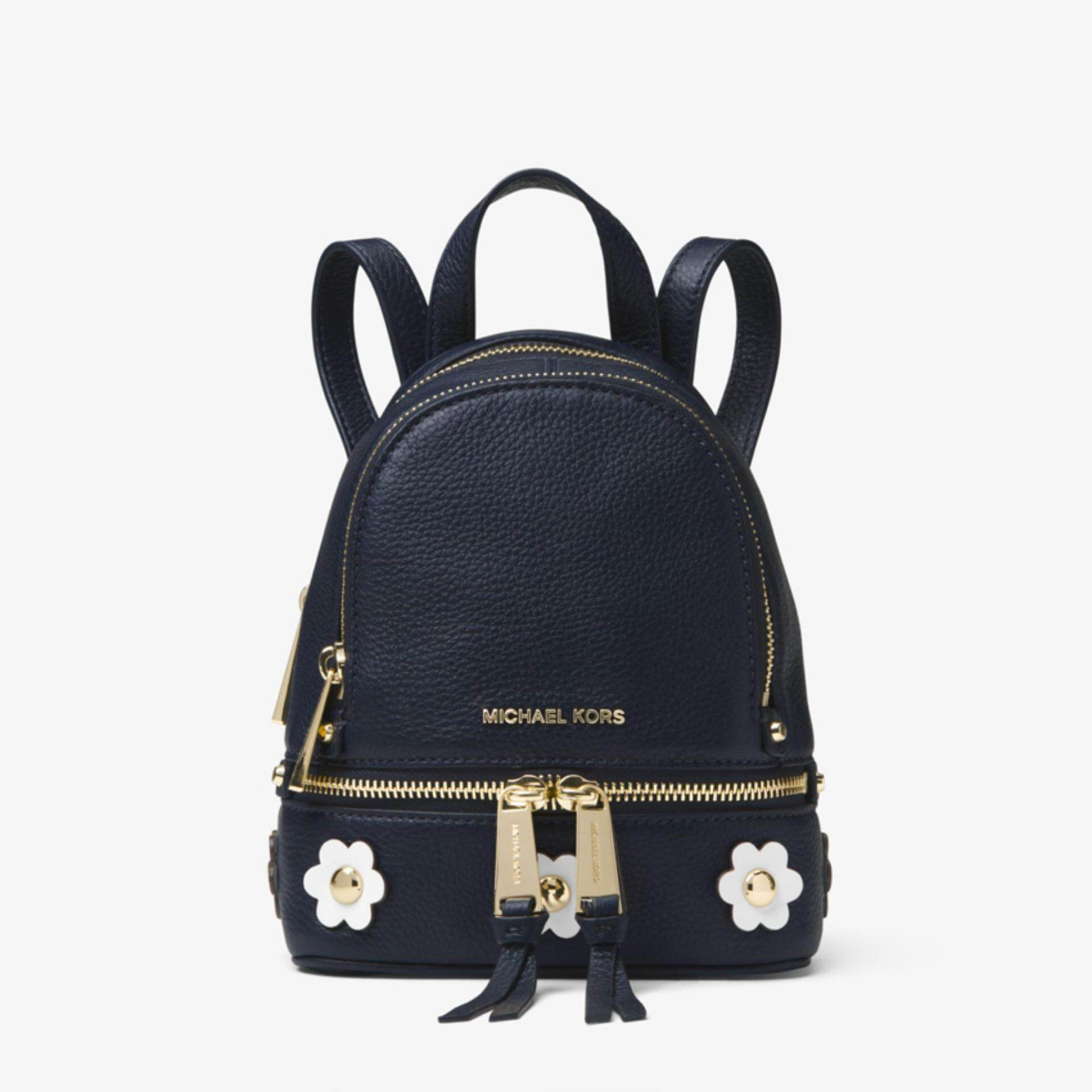 a7250a1695f3 Michael Kors Rhea Mini Floral Appliqué Leather Backpack - Navy Blue
