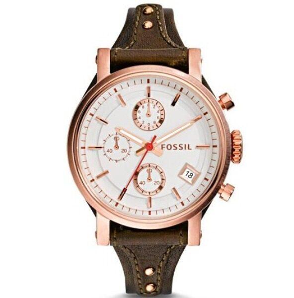 Fossil Womens Boyfriend Chrono White Dial Leather Watch ES3616 Malaysia