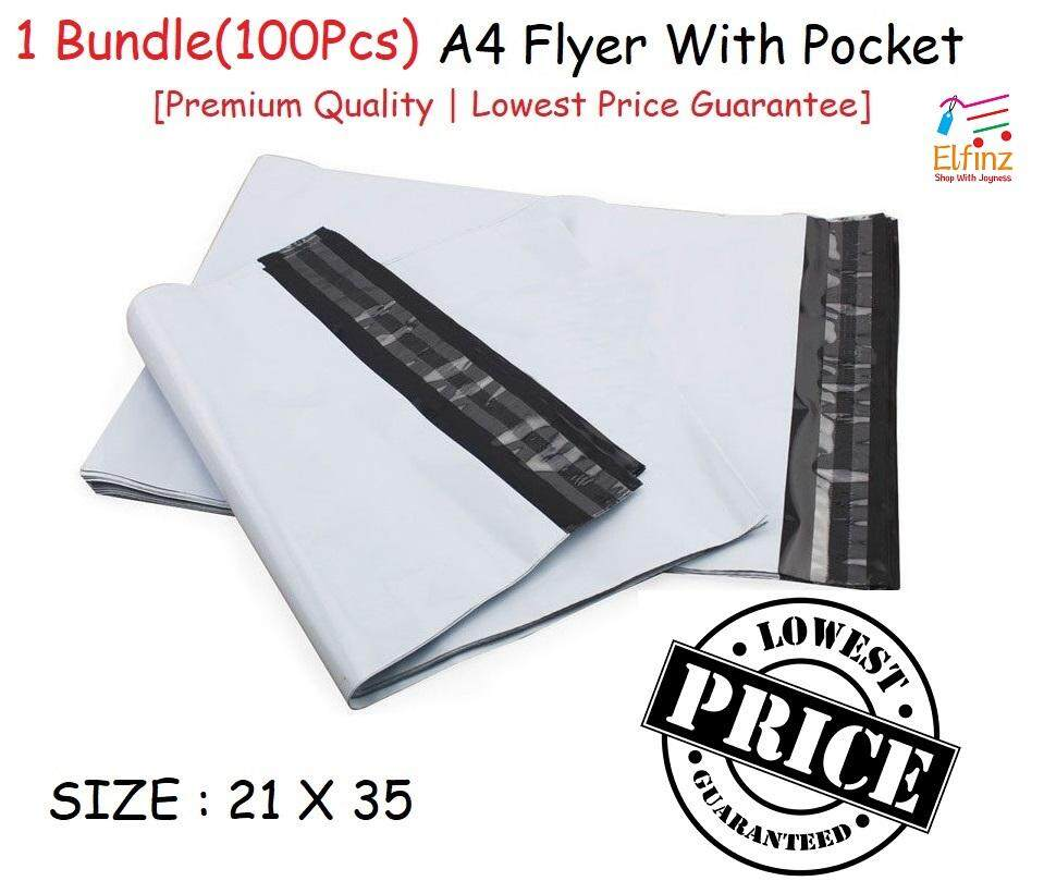 [lowest Price] A4 100 Pcs White Courier Bag With Pocket Packaging Bag A4 Flyer By Elfinzshop.