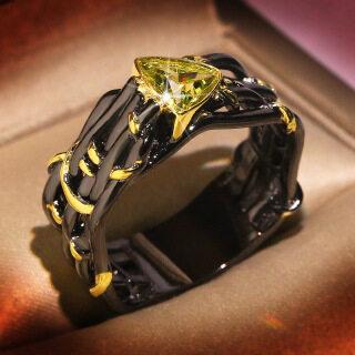 Nhẫn màu vàng đen đính pha lê lấp lánh thiết kế tinh tế sang trọng cho nữ - INTL thumbnail