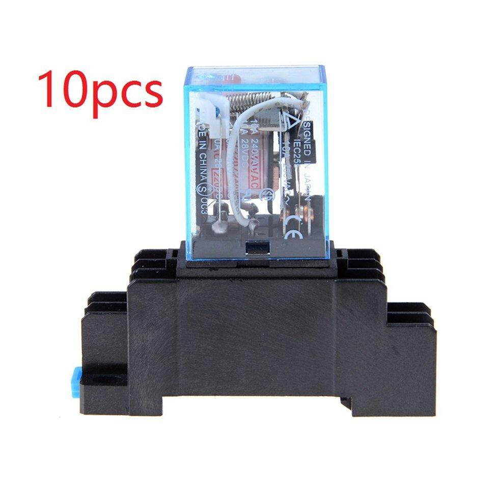 BGD 10pcs Base 12v 24v DC 110v 220v AC Coil Power Relay LY2NJ DPDT Socket Base