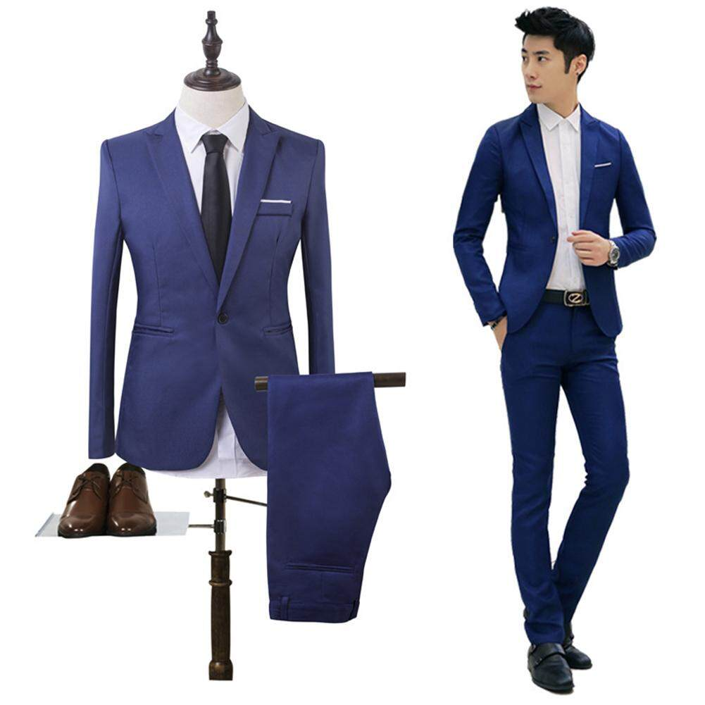 9a3b0df44 2Pieces Mens Suits Business Male Slim Fit Blazer Bestman Groomsman Suits  Formal Outfit One Button Jacket