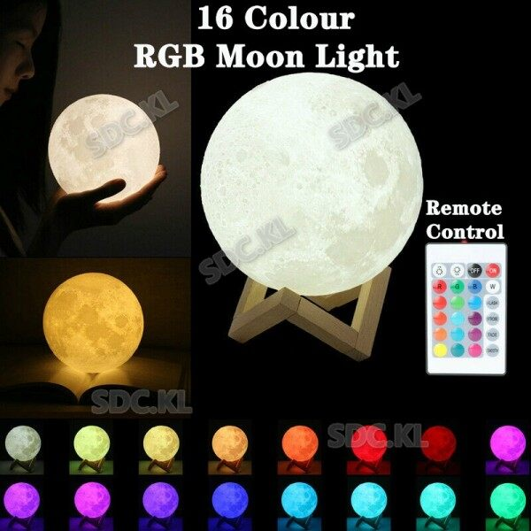 3D Moon Night Lamp 16 Colour Remote Control Changing Led Table Lamp Touch Sensor