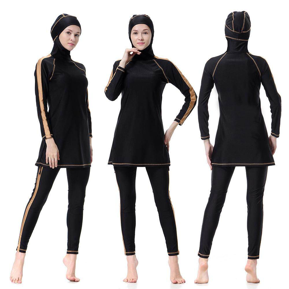 afc44078e74b7 3pcs/set Women Plus Size Muslim Swimwear Beach Bathing Suit Muslimah Islamic  Swimsuit Swim Surf
