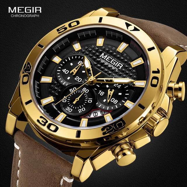 Mới bán chạy bán thương hiệu sang trọng đồng hồ MEGIR nam đa chức năng thời trang thể thao Nam Đồng Hồ Thạch Anh Chất lượng cao không thấm nước dây da. Quà tặng cho nam giới bán chạy