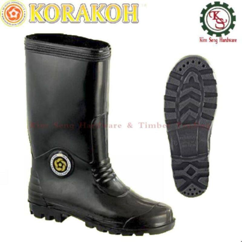 Hight Qulity #6000 KORAKOH Black Safety Rubber Boot / Kasut Boot Getah