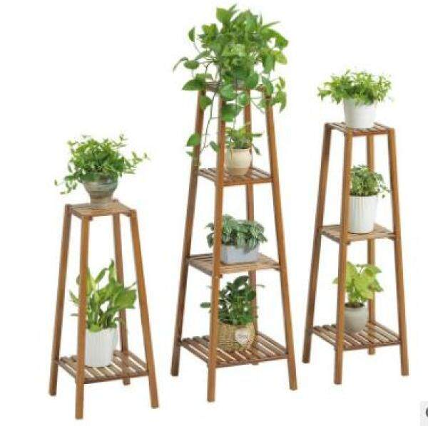 Home Garden Wood Plant Stand Solid Flowers Plant Rack Shelves Display Shelf