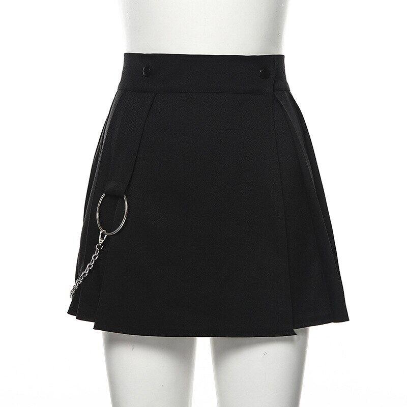 Goth Váy Mini Chữ A Màu Đen Phong Cách Gothic Xếp Ly Tối Màu, E-girl Chân Váy Nữ Cạp Cao Phong Cách Harajuku Grunge Trắng Chắp Vá Thời Trang Dạo Phố