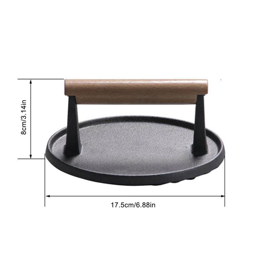 7-inch Cast Iron Bacon Press Steak Meat Plate with Wooden Handle Barbecue Tool