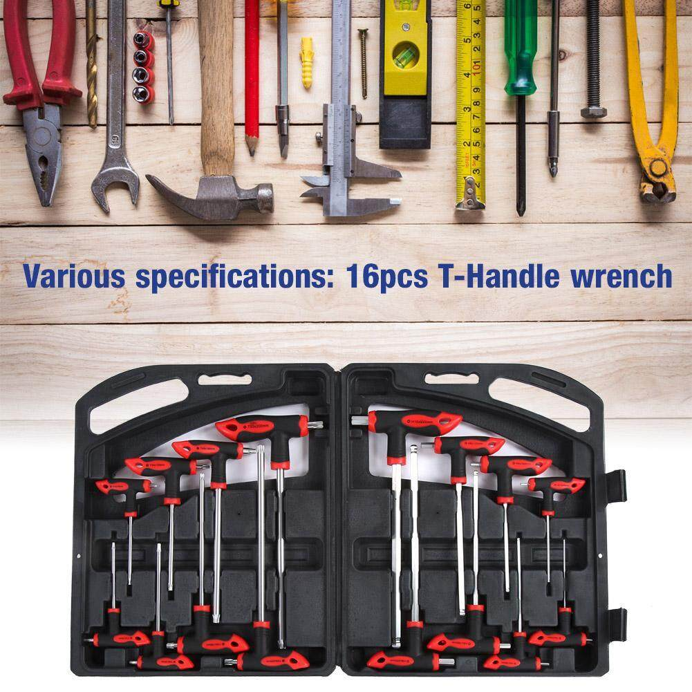 16 pcs CR-V T-Handle Ball End Hex Key Wrench Set & T-Handle Star Wrench Set