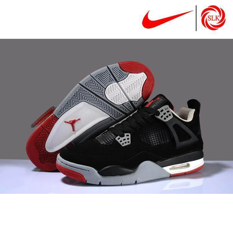 """SLK★ Nike Air Jordan 4 """"Bred 2017""""  and Cement Grey-Fire Red Basketball shoes"""