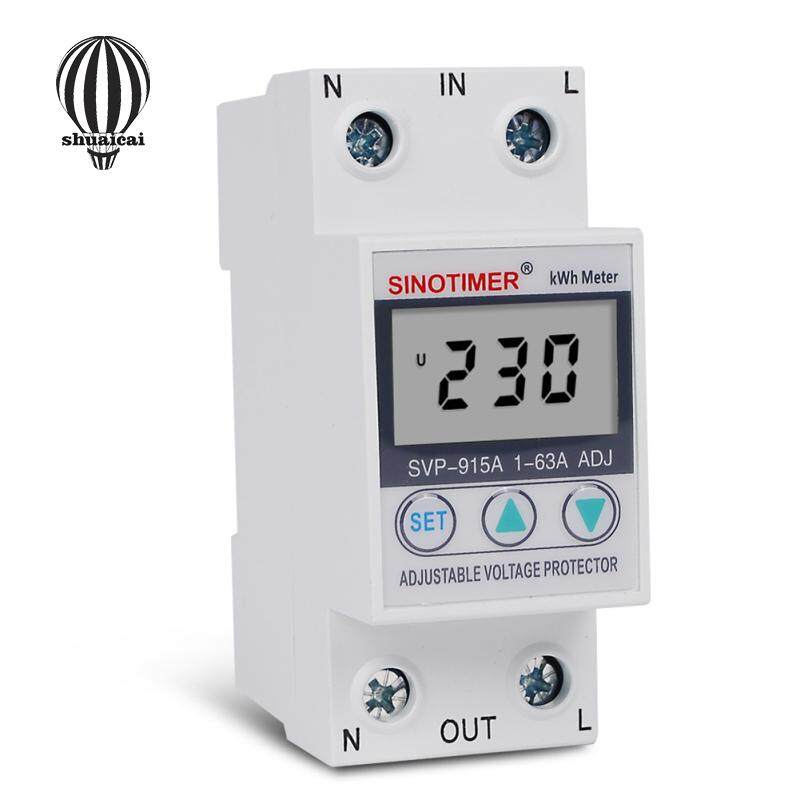 SC 220V Home Intelligent LCD Single Phase Adjustable Auto Recovery Over Under Voltage Protector Current limit switch