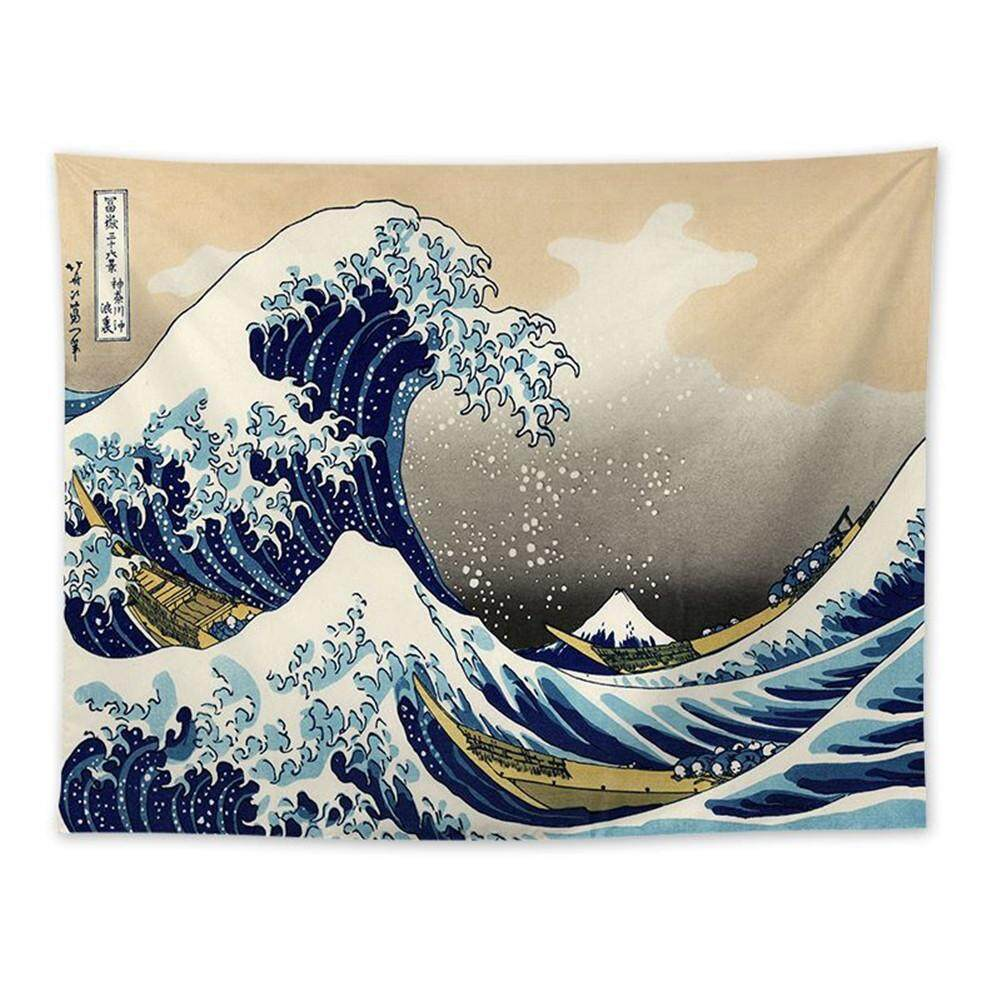 Ukiyo-e Japanese Living Room Tapestries Mountain Ocean Wave Decorative Painting Kanagawa Surf Background Hanging Cloth