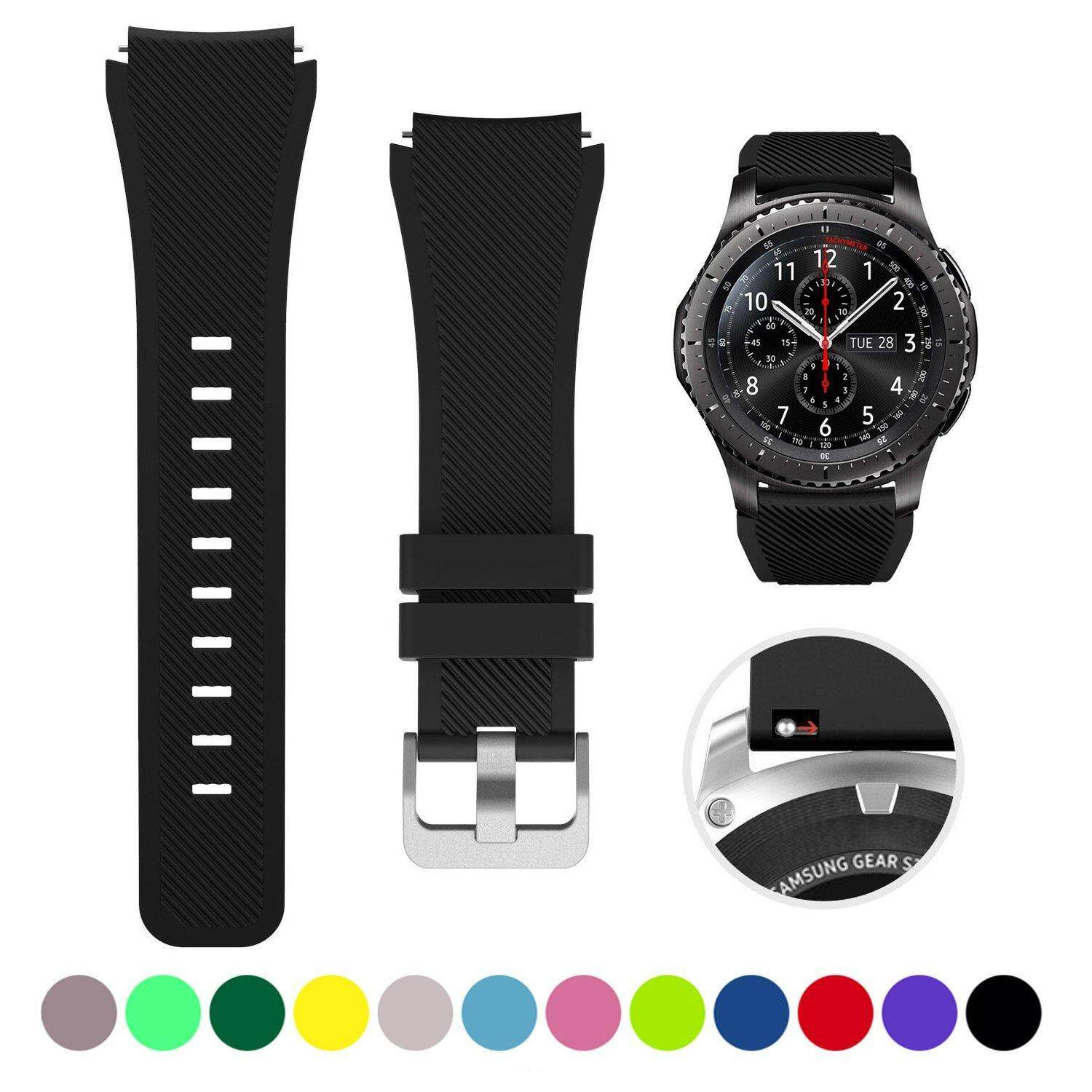 22mm Universal Silicone Bands For Samsung Gear S3 Frontier Classic Bracelet Sports Strap Replacement Wristband quick release pin Malaysia