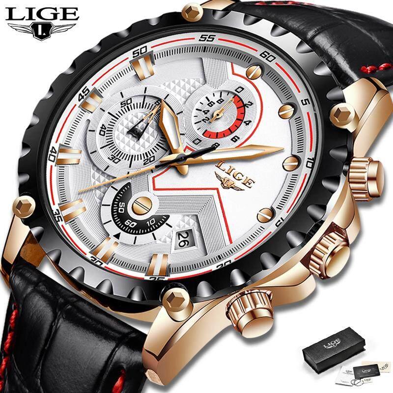 [12.12] LIGE Men Watches Sports Leather Waterproof Luminous Analog Quartz Chronograph Calendar Jam Tangan Lelaki For Man Malaysia
