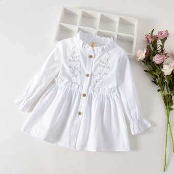 Aynshop ทารกเด็กผู้หญิงแขนยาว Ruched Floral Dressed เสื้อผ้า