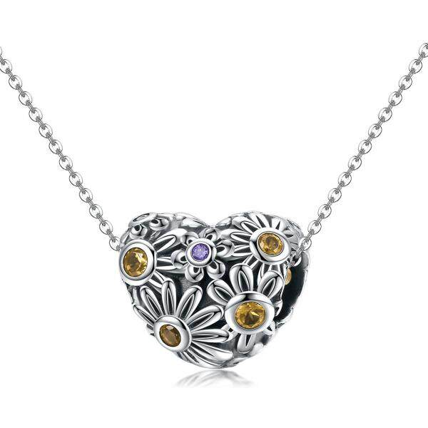 925 sterling silver ornaments chrysanthemum heart pattern can do necklace & bracelet