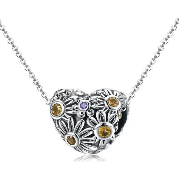 925 sterling silver ornaments chrysanthemum heart pattern can do necklace & bracelet