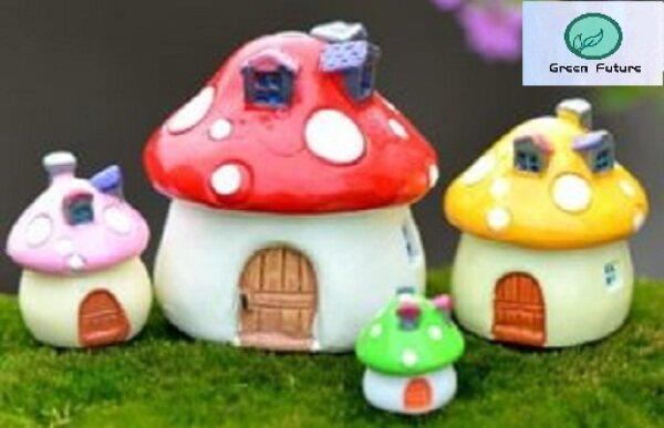 Miniature Mini for Succulent Terrarium Bonsai Cake Mini Cute Decor 蘑菇造型屋子盆栽配件 Mushroom shaped house potting accessories