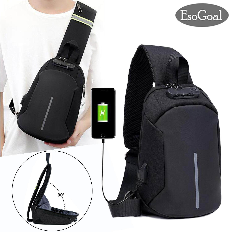 EsoGoal USB Charging Chest Bag Crossbody Premium Bag Anti Theft Sling bag  Lightweight Casual Daypack for d3f97c527fb56