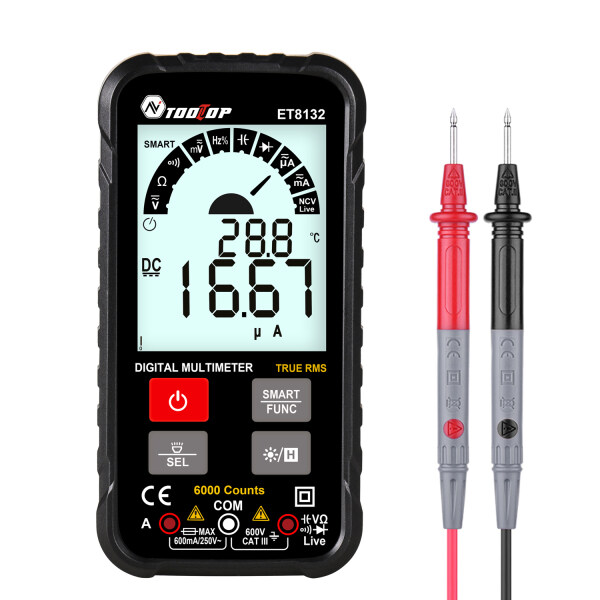 KKmoon ET8132 2.88 I-nch Display Screen Handheld High Accuracy Digital Multimeter AC DC Voltage Current Resistance Frequency Capacitance Meter Automatic Identification True RMS 6000 Counts with L-ED Flashlight Function
