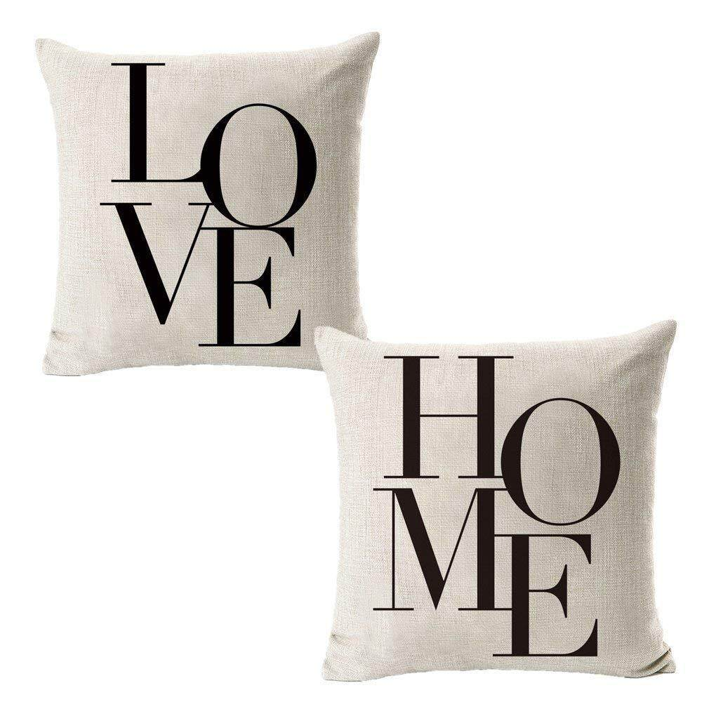Set of 2Pcs Cotton Linen Cushion Cover Throw Pillow Covers LOVE HOME Printed Square Pillowcase Home Decorative Gifts for Sofa Bed Car Garden 18x18 45x45cm