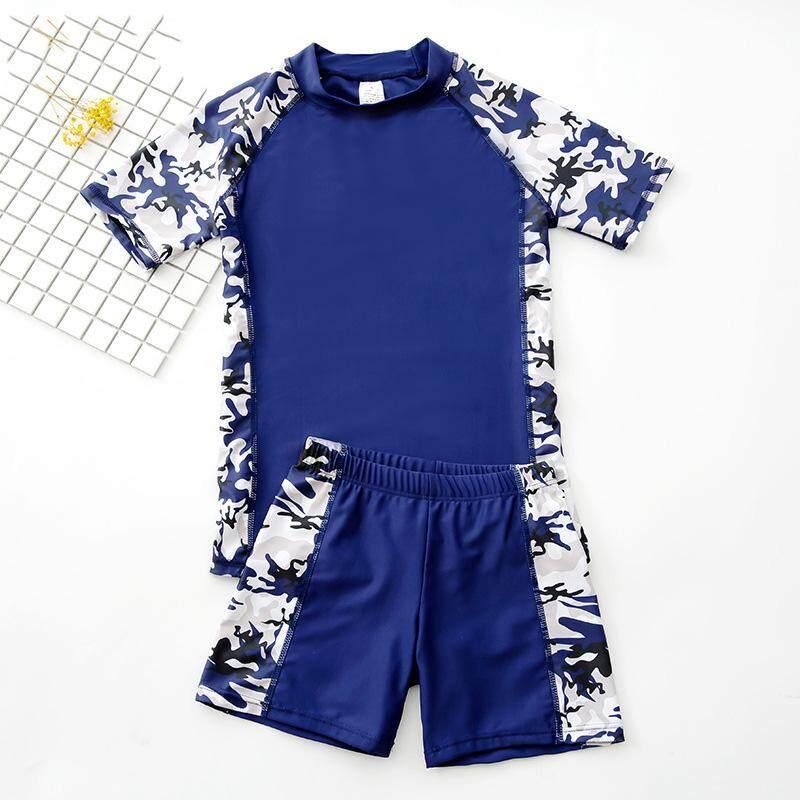 7deb21148 Children's Swimwear Big Boy Split Swimming Trunks Set Boy Bathing Suit  Teenage Sunscreen Swimsuit
