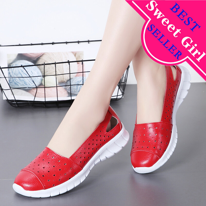 Ultralight Girl Casual Flat Real Leather Pump Loafers Ladies Comfy Slip On Shoes