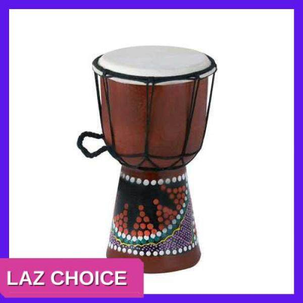 LAZ CHOICE 4 Inch Compact Size Wooden African Drum Djembe Bongo Hand Drum Percussion Musical Instrument with Colorful Pattern (Patterns Random Delivery) () Malaysia