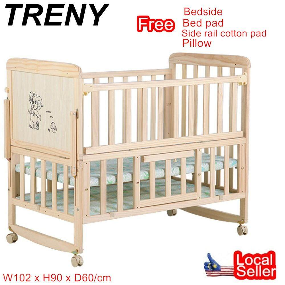 Treny Baby Cot Height Cradle Cot Bed Wooden Rocking (blue Monkey) (only For West Malaysia) By Mp Treny.