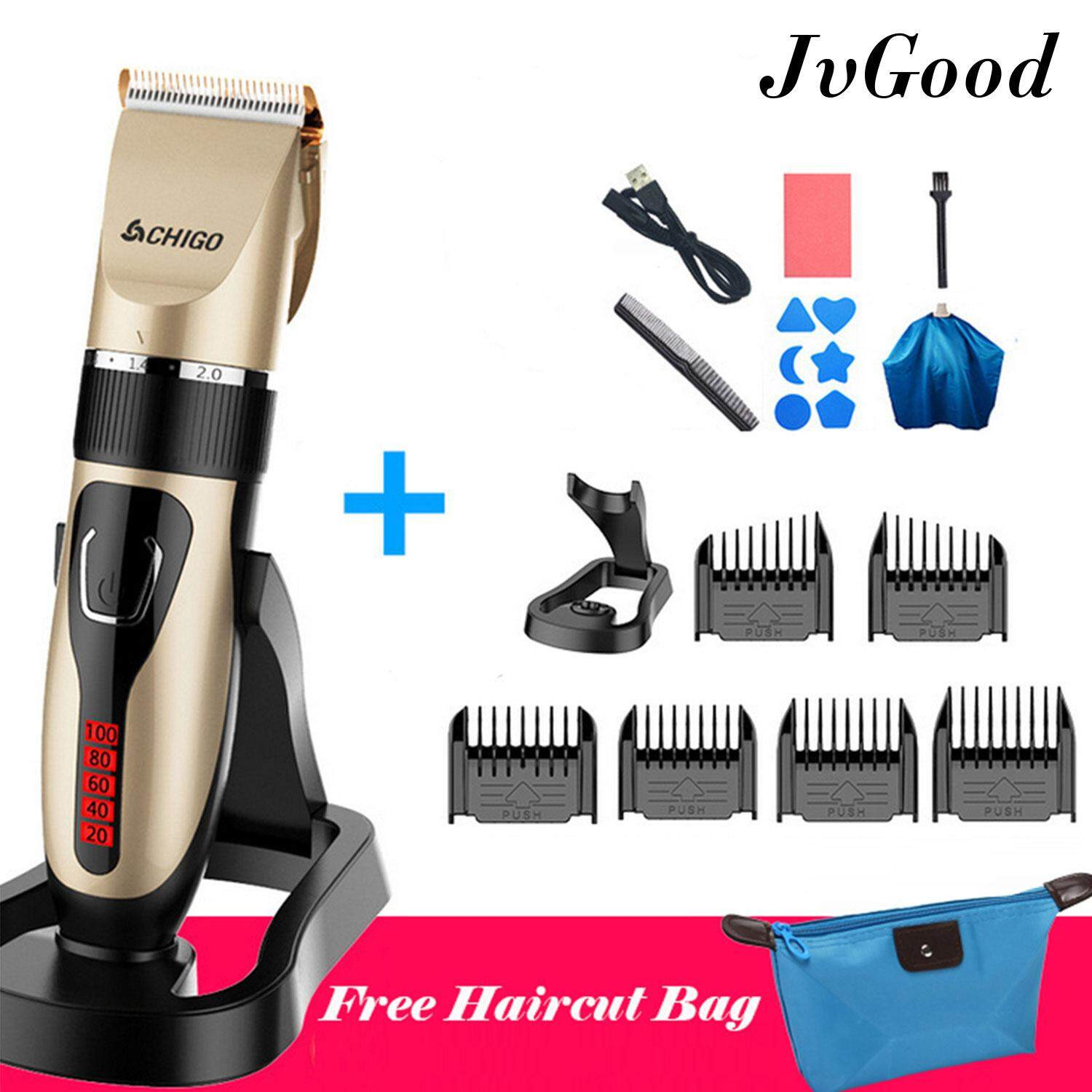 JvGood Professional Rechargeable Electric Hair Clipper Beard Trimmer Cutter  For Adult Children with Hairdresser Tools Set a80e3a5e5c