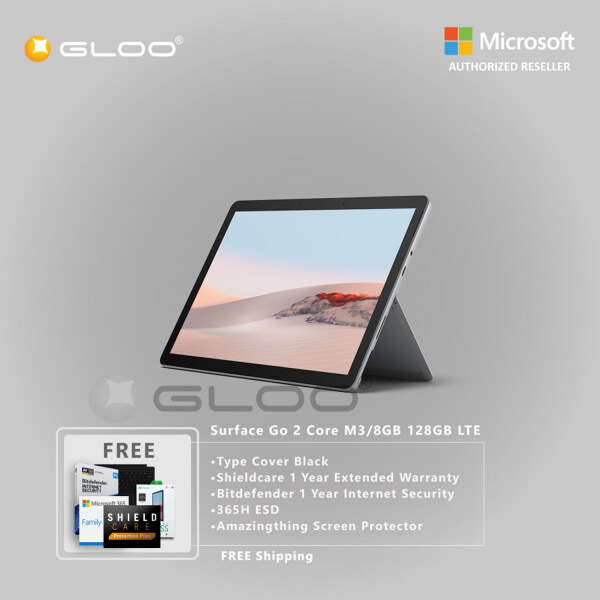 Microsoft Surface Go 2 Core M3/8GB 128GB LTE + Surface Go Type Cover [Choose Color] + Shield Care 1 Year Extended Warranty+ Bitdefender 1 Year Internet Security+ 365 Family ESD + Amazingthing Screen Protector Malaysia